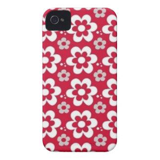 padrão vermelho com flores brancas iPhone 4 cover