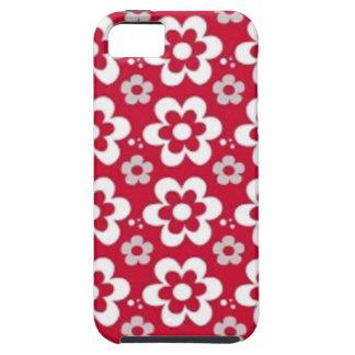 padrão vermelho com flores brancas iPhone SE/5/5s case