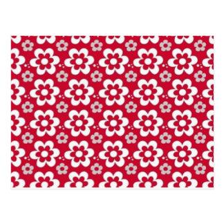 padrão vermelho com flores brancas postcard