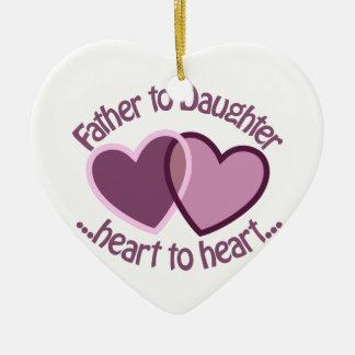 Padre a la hija adorno navideño de cerámica en forma de corazón