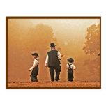 Padre de Amish y postal de los hijos