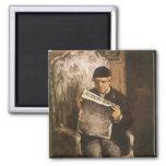 Padre de la lectura por Cezanne, bella arte del Iman De Nevera