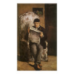 Padre de la lectura por Cezanne, bella arte del Poster