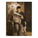 Padre de la lectura por Cezanne, bella arte del Postales