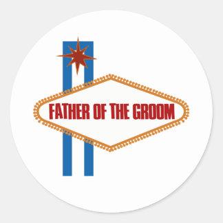 Padre de Las Vegas del novio Etiquetas Redondas