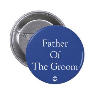 Padre de los botones náuticos azules del boda del