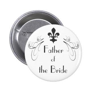 Padre decorativo de la flor de lis del botón de la pin redondo de 2 pulgadas
