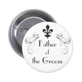 Padre decorativo de la flor de lis del botón del n pin redondo de 2 pulgadas