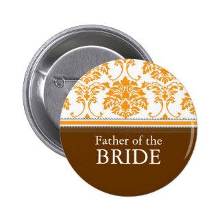 Padre del botón anaranjado del damasco de la novia pin redondo de 2 pulgadas