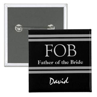 Padre del botón blanco y negro del boda de la novi pins