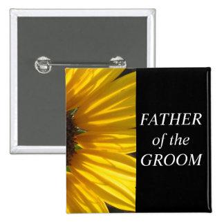 Padre del botón del boda del girasol del novio pin