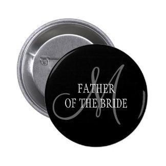 Padre del botón del monograma del boda de la novia pin redondo de 2 pulgadas