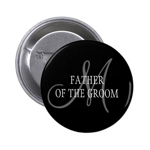 Padre del botón del monograma del boda del novio