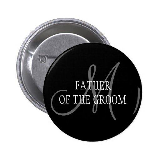 Padre del botón del monograma del boda del novio pin redondo de 2 pulgadas