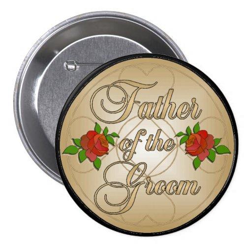 Padre del oro del botón del novio pin