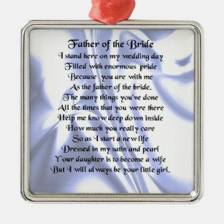 Padre del poema de la novia - seda azul adorno navideño cuadrado de metal