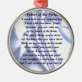 Padre del poema de la novia - seda azul adorno navideño redondo de metal
