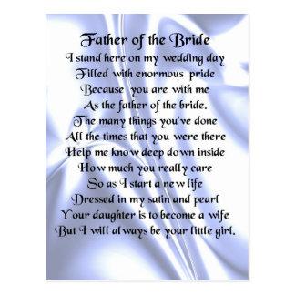 Padre del poema de la novia - seda azul tarjetas postales