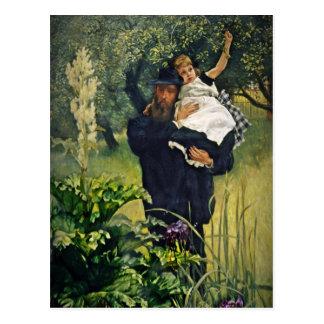 Padre del Victorian que lleva a su hija Postal
