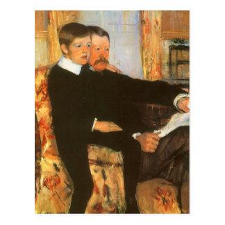 Padre del vintage y retrato de la familia del hijo postal