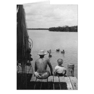 Padre e hijo, Marco Island, la Florida, 1966 Tarjeta De Felicitación