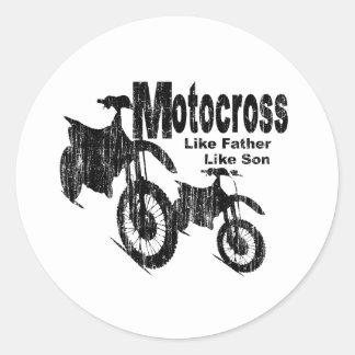 Padre/hijo del motocrós etiqueta redonda