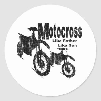 Padre/hijo del motocrós pegatina redonda