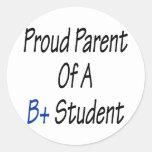 Padre orgulloso de A B+ Estudiante Pegatina Redonda