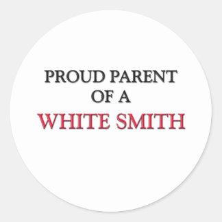 Padre orgulloso de SMITH BLANCO Pegatinas Redondas