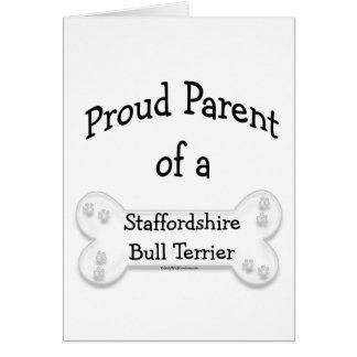 Padre orgulloso de Staffordshire bull terrier Felicitacion