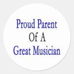 Padre orgulloso de un gran músico pegatinas redondas