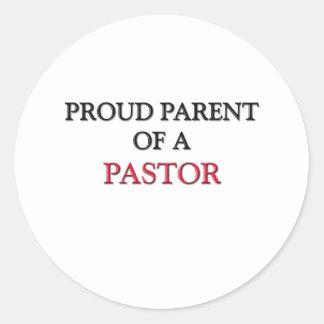 Padre orgulloso de un PASTOR Etiqueta Redonda