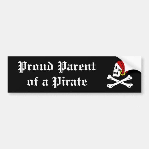 Padre orgulloso de un pirata etiqueta de parachoque