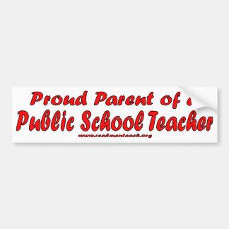 Padre orgulloso de un profesor de escuela público pegatina para auto