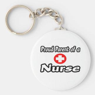 Padre orgulloso de una enfermera llavero redondo tipo pin