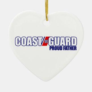 Padre orgulloso del guardacostas adorno navideño de cerámica en forma de corazón