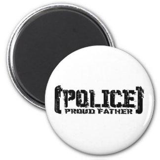 Padre orgulloso - POLICÍA hecha andrajos Imán Redondo 5 Cm