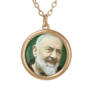 Padre Pio Holy Medal Round Pendant Necklace