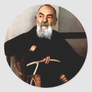 Padre Pio Pegatinas Redondas