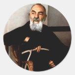 Padre Pio Pegatina Redonda