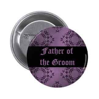 Padre púrpura sucio gótico del damasco del novio pin redondo de 2 pulgadas