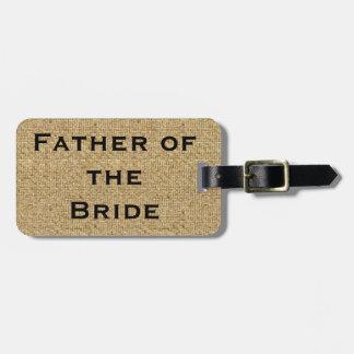Padre rústico de la arpillera de la etiqueta del etiqueta para equipaje