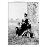 Padre y familia del nativo americano tarjetón