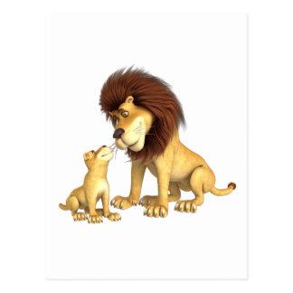 Padre y hijo del león del dibujo animado