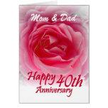 PADRES - 40.o aniversario de boda con color de ros Felicitacion