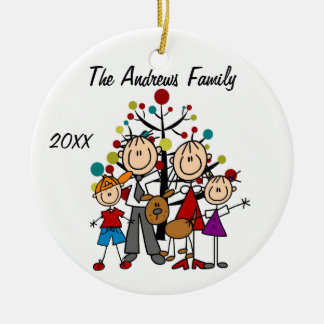 Padres de encargo de la familia, muchacho, chica, adorno navideño redondo de cerámica