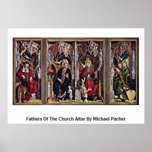 Padres del altar de la iglesia de Michael Pacher Póster