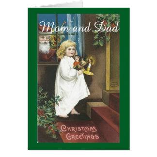 Padres del navidad del vintage tarjeta de felicitación
