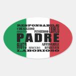 Padres italianos: Calidades Pegatina Ovalada