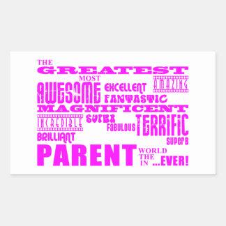 Padres: Padre más grande rosado Pegatina Rectangular